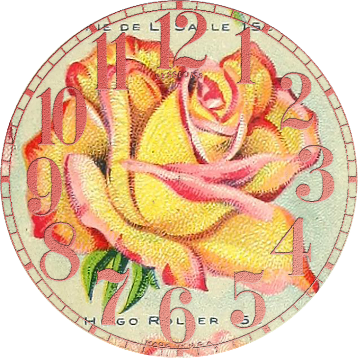 Wings of Whimsy: Vintage Rose Clock 4 PNG (transparent background) #vintage #ephemera #rose #clock