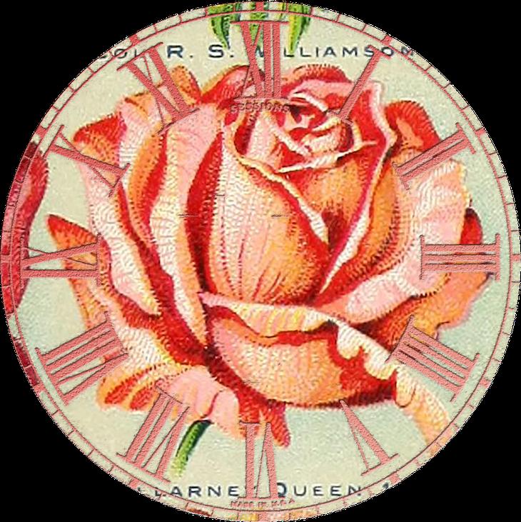Wings of Whimsy: Vintage Rose Clock 7 PNG (transparent background) #vintage #ephemera #rose #clock