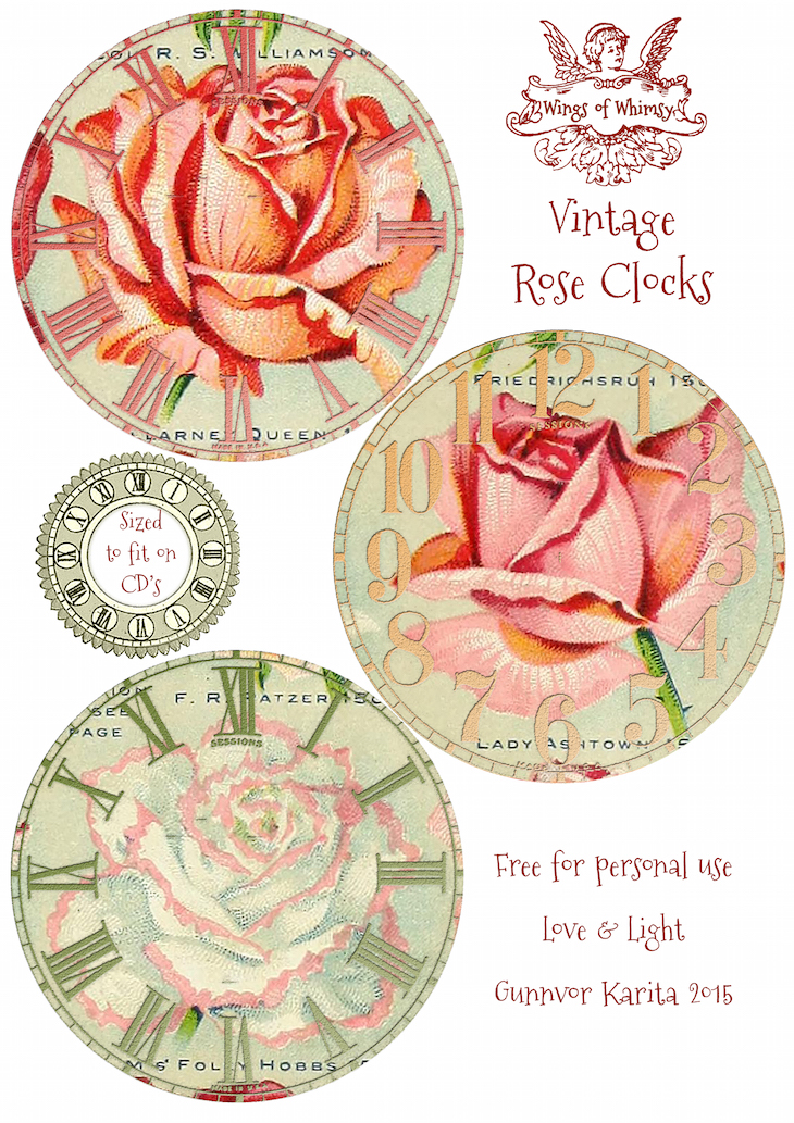 Wings of Whimsy: Vintage Rose Clocks No 2 of 4 #vintage #ephemera #rose #clock