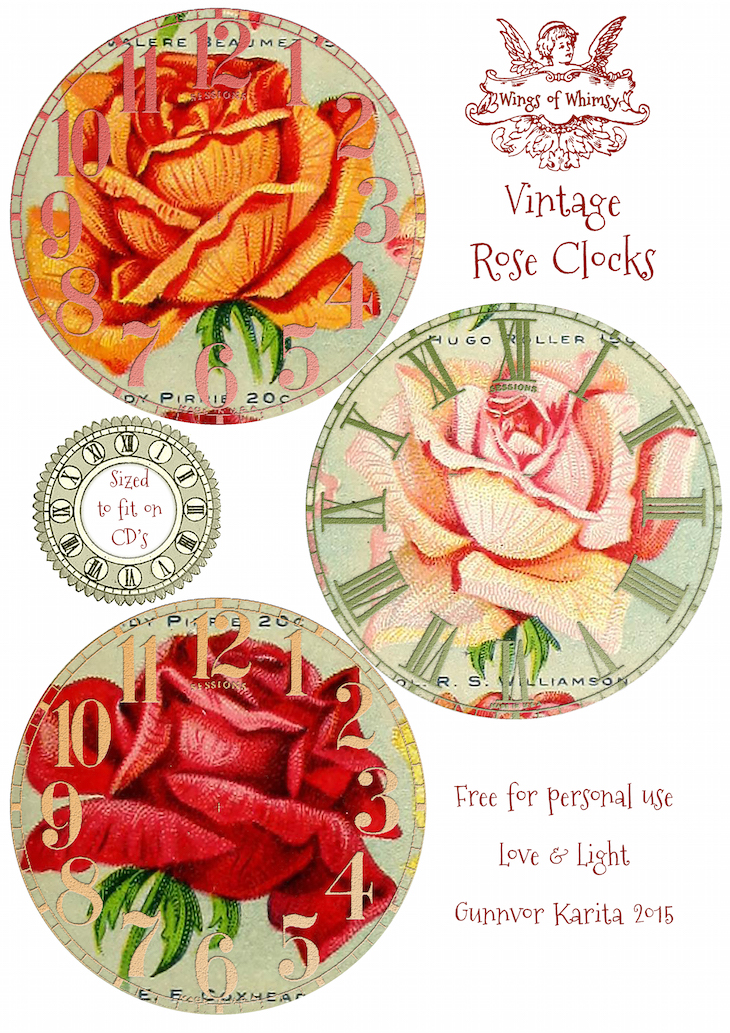 Wings of Whimsy: Vintage Rose Clocks No 4 of 4 #vintage #ephemera #rose #clock