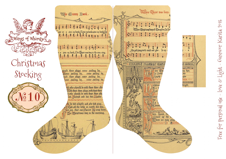 Wings of Whimsy: Vintage Christmas Stocking No 10 #freebie #printable #vintage #christmas #stocking