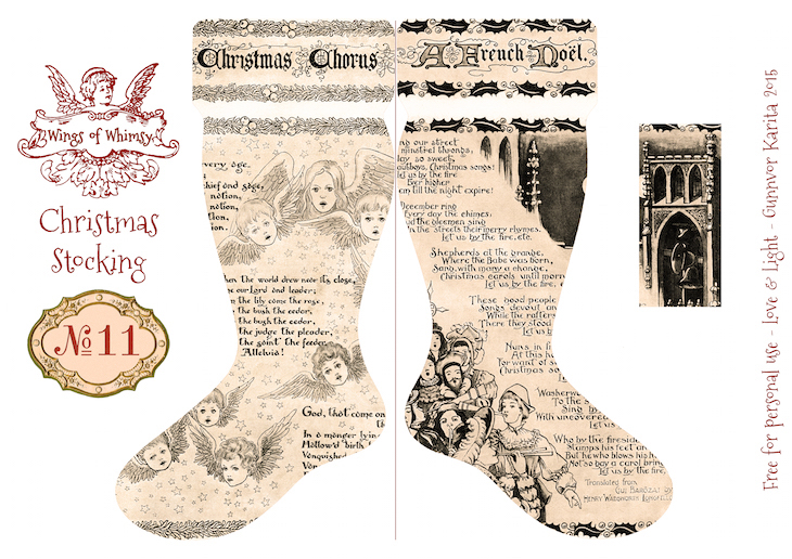 Wings of Whimsy: Vintage Christmas Stocking No 11 #freebie #printable #vintage #christmas #stocking