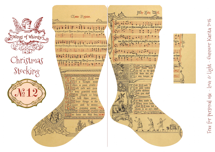 Wings of Whimsy: Vintage Christmas Stocking No 12 #freebie #printable #vintage #christmas #stocking