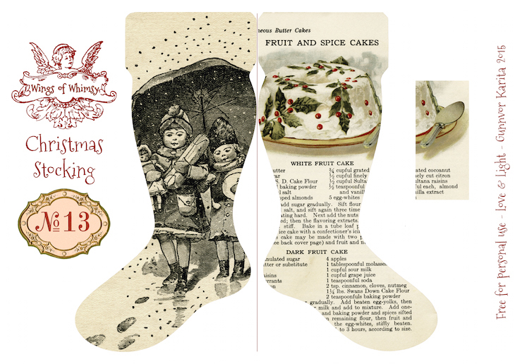 Wings of Whimsy: Vintage Christmas Stocking No 13 #freebie #printable #vintage #christmas #stocking