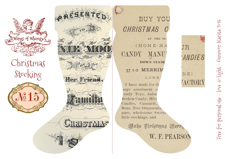 Wings of Whimsy: Vintage Christmas Stocking No 15 #freebie #printable #vintage #christmas #stocking