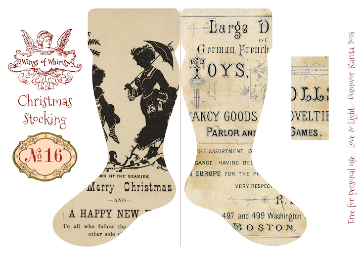 Wings of Whimsy: Vintage Christmas Stocking No 16 #freebie #printable #vintage #christmas #stocking