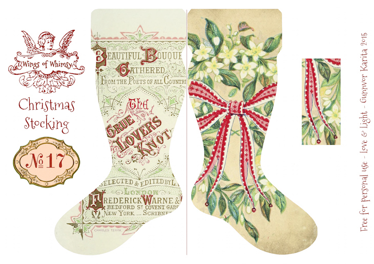 Wings of Whimsy: Vintage Christmas Stocking No 17 #freebie #printable #vintage #christmas #stocking