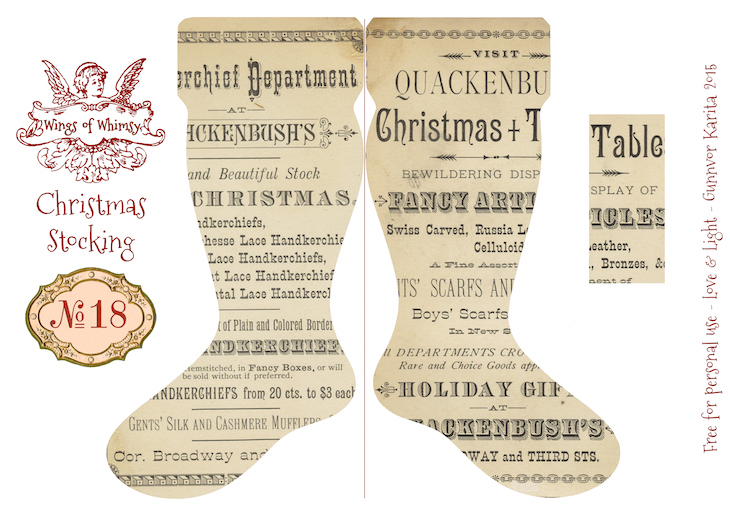 Wings of Whimsy: Vintage Christmas Stocking No 18 #freebie #printable #vintage #christmas #stocking