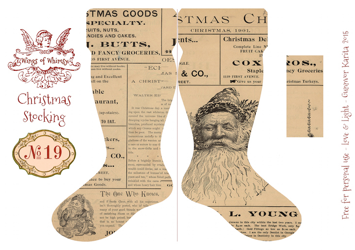 Wings of Whimsy: Vintage Christmas Stocking No 19 #freebie #printable #vintage #christmas #stocking