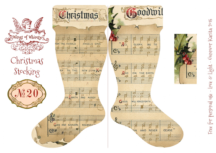 Wings of Whimsy: Vintage Christmas Stocking No 20 #freebie #printable #vintage #christmas #stocking
