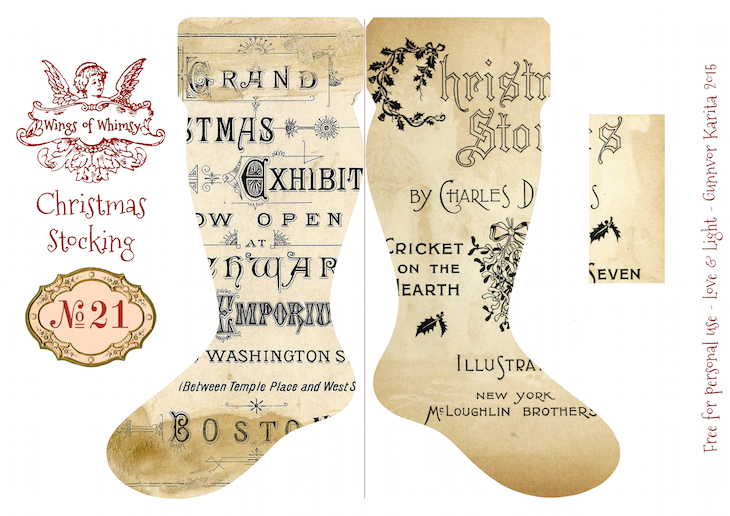 Wings of Whimsy: Vintage Christmas Stocking No 21 #freebie #printable #vintage #christmas #stocking