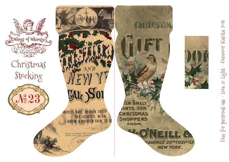 Wings of Whimsy: Vintage Christmas Stocking No 23 #freebie #printable #vintage #christmas #stocking