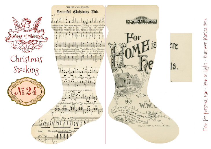 Wings of Whimsy: Vintage Christmas Stocking No 24 #freebie #printable #vintage #christmas #stocking