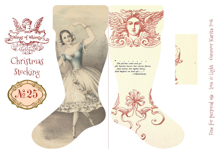Wings of Whimsy: Vintage Christmas Stocking No 25 #freebie #printable #vintage #christmas #stocking kopi