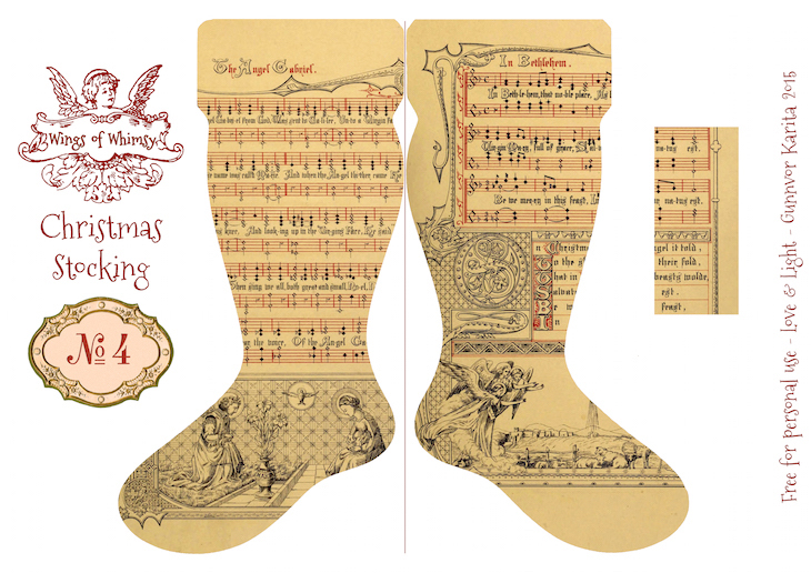 Wings of Whimsy: Vintage Christmas Stocking No 4 #freebie #printable #vintage #christmas #stocking