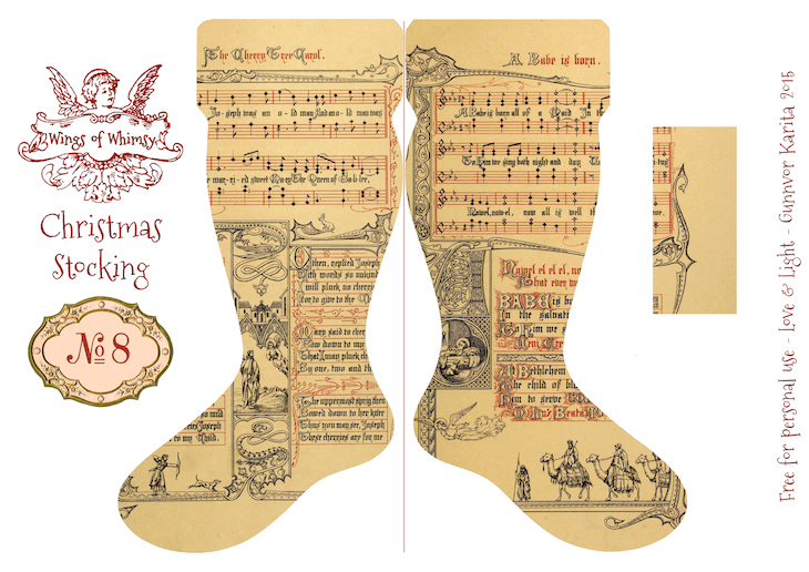 Wings of Whimsy: Vintage Christmas Stocking No 8 #freebie #printable #vintage #christmas #stocking