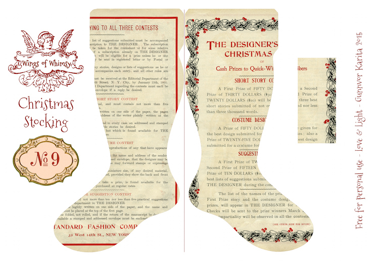 Wings of Whimsy: Vintage Christmas Stocking No 9 #freebie #printable #vintage #christmas #stocking
