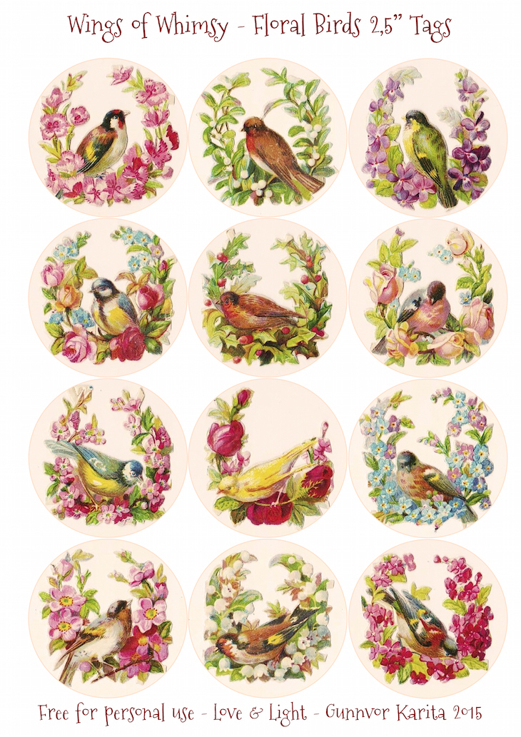 "Wings of Whimsy: Floral Birds 2,5"" Circles #vintage #ephemera #freebie #printable #tags"