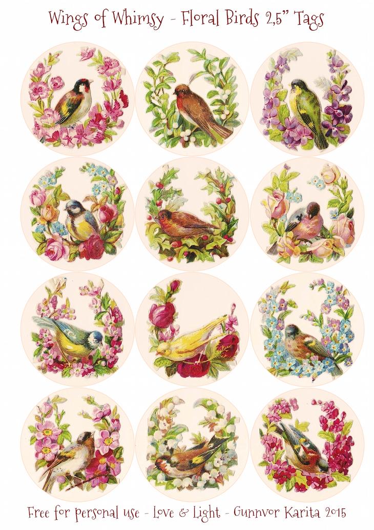 "Wings of Whimsy: Floral Birds 2,5"" Circles #vintage #ephemera #freebie #printable #tags"