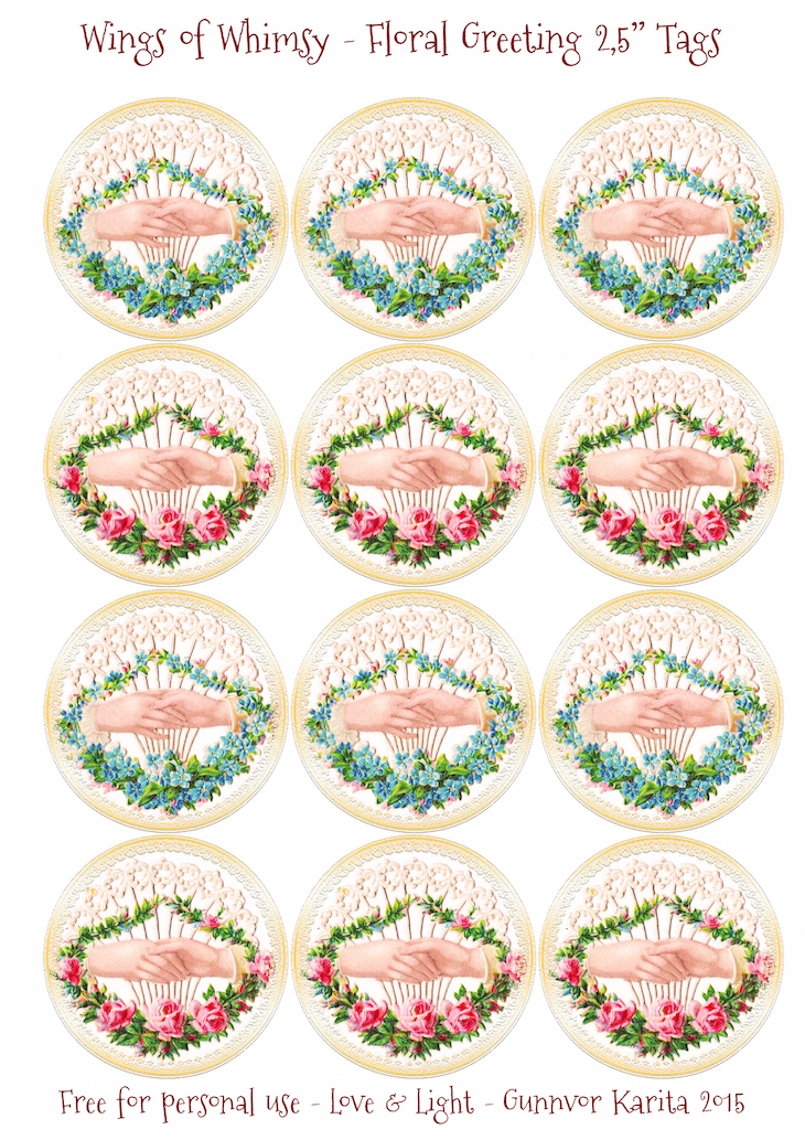 "Wings of Whimsy: Floral Greeting 2,5"" Circles #vintage #ephemera #freebie #printable #tags"