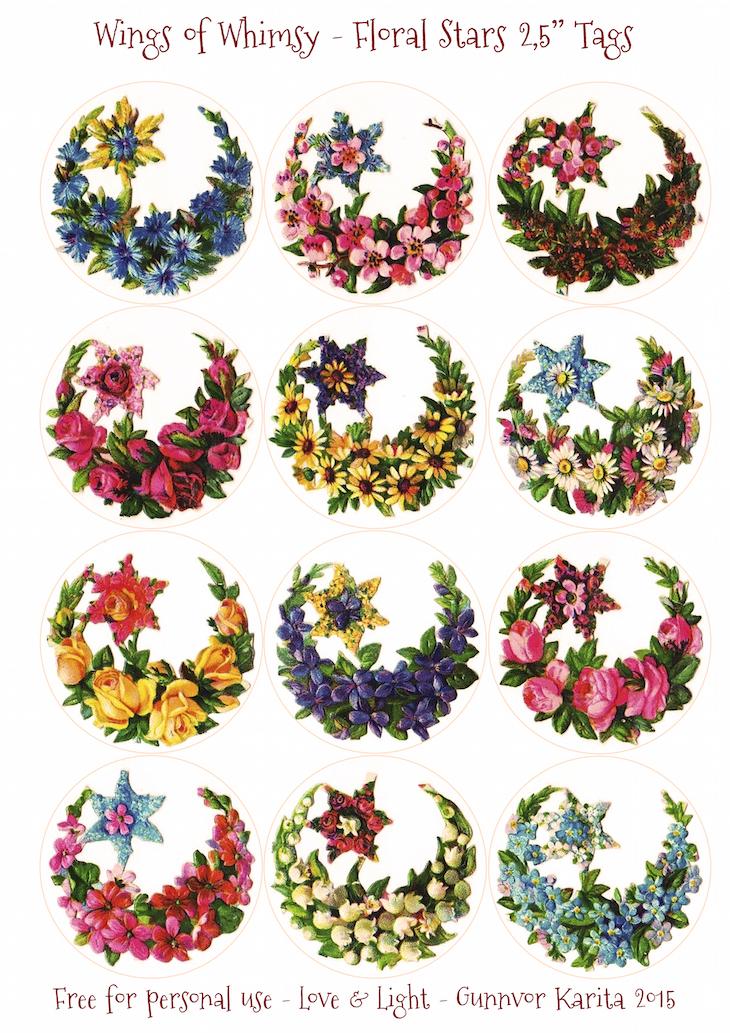 "Wings of Whimsy: Floral Stars 2,5"" Circles #vintage #ephemera #freebie #printable #tags"