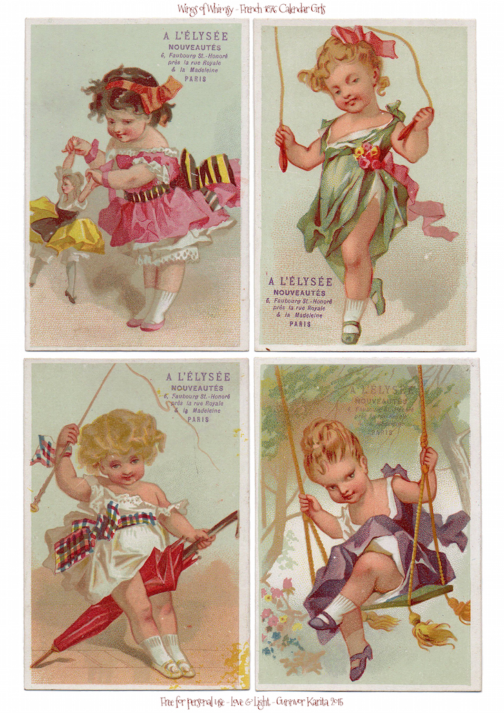 Wings of Whimsy: French 1876 Calendar Girls #vintage #ephemera #freebie #printable #french #girl #trade #card