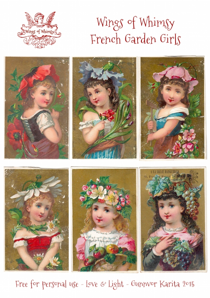 Wings of Whimsy: French Garden Girls #vintage #ephemera #freebie #printable #french #girls #floral