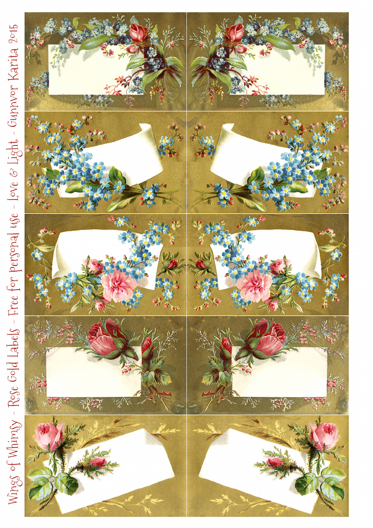 Wings of Whimsy: Rose & Forget-Me-Not Gold Labels #freebie #vintage #epehmera #printable #rose #forget-me-not #label #sheet #collage sheet