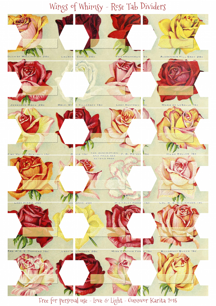 Wings of Whimsy: Antique Seed Catalog Reinvented - Rose Tab Dividers #vintage #ephemera #freebie #printable #tab #divider #rose #seed #catalog