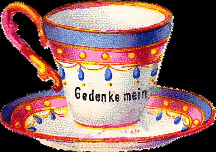 Wings of Whimsy: Belle Epoque Tea Cup No 5 PNG -file (transparent background) #vintage #ephemera #freebie #printable #teacup #scrap