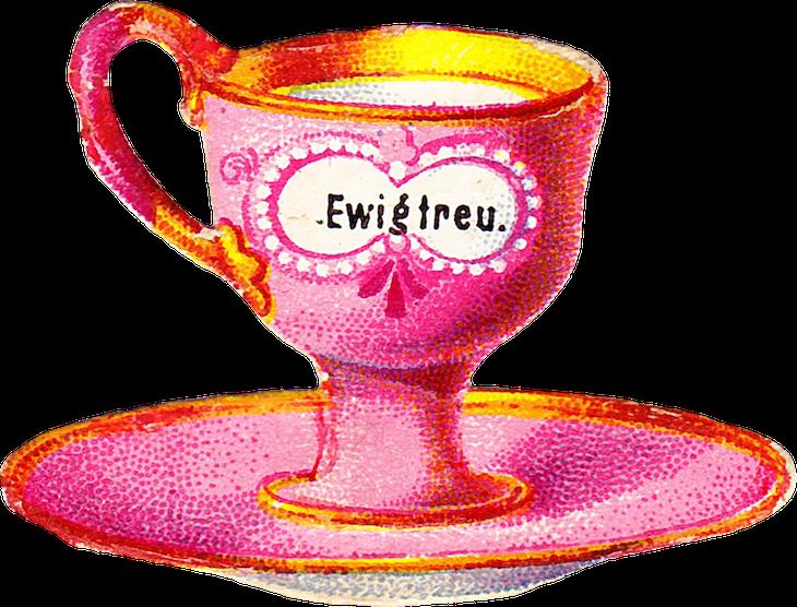 Wings of Whimsy: Belle Epoque Tea Cup No 7 PNG -file (transparent background) #vintage #ephemera #freebie #printable #teacup #scrap