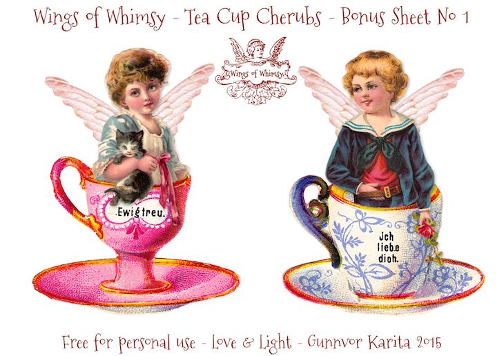 Wings of Whimsy: Tea Cup Cherubs Bonus Sheet No 1 #vintage #ephemera #freebie #printable #teacup #cherub