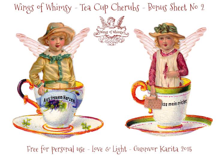 Wings of Whimsy: Tea Cup Cherubs Bonus Sheet No 2 #vintage #ephemera #freebie #printable #teacup #cherub