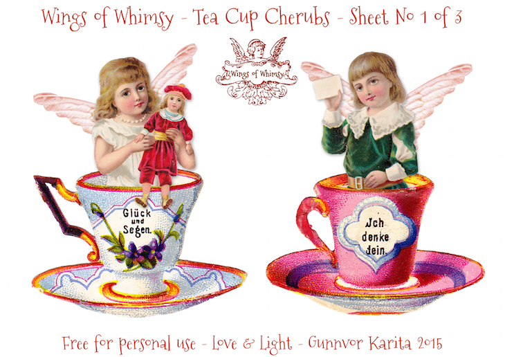 Wings of Whimsy: Tea Cup Cherubs Sheet No 1 #vintage #ephemera #freebie #printable #teacup #cherub