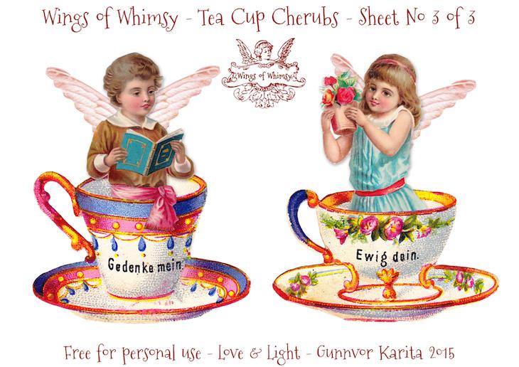 Wings of Whimsy: Tea Cup Cherubs Sheet No 3 #vintage #ephemera #freebie #printable #teacup #cherub