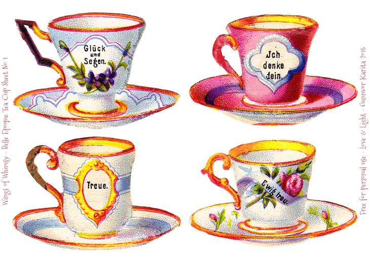 Wings of Whimsy: Belle Epoque Tea Cups Sheet No 1 #vintage #ephemera #freebie #printable #teacup #scrap