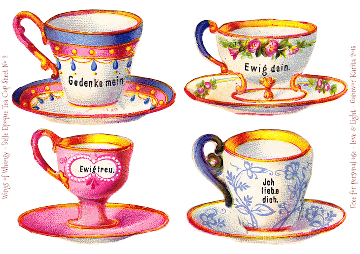 Wings of Whimsy: Belle Epoque Tea Cups Sheet No 2 #vintage #ephemera #freebie #printable #teacup #scrap