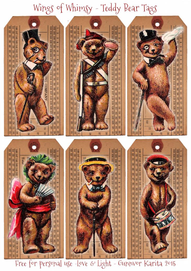 Wings of Whimsy: 1910 Teddy Bear Tags #vintage #ephemera #freebie #printable #teddy #bear #tags #scraps