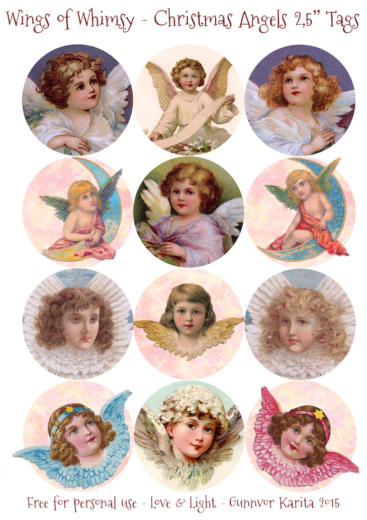 "Wings of Whimsy: 2,5"" Christmas Angels Tags #vintage #ephemera #freebie #printable #christmas #tags #angels"
