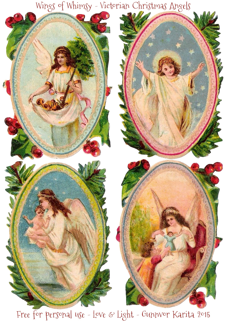 Vings of Whimsy: Victorian Christmas Angels #freebie #printable #ephemera #victorian #angel #christmas