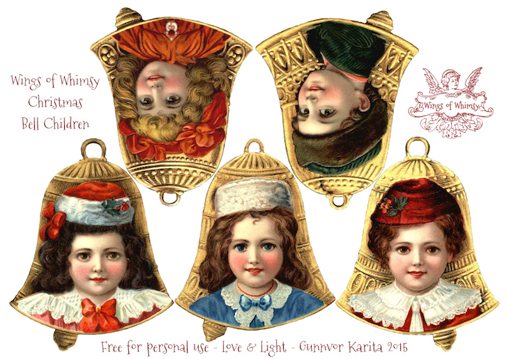 Wings of Whimsy: Christmas Bell Children Ornaments #freebie #vintage #printable #christmas #children