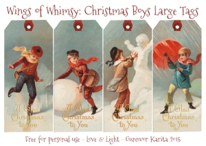 Wings of Whimsy: Christmas Boys Large Tags #vintage #epjemera #freebie #printable #tags #christmas #boy
