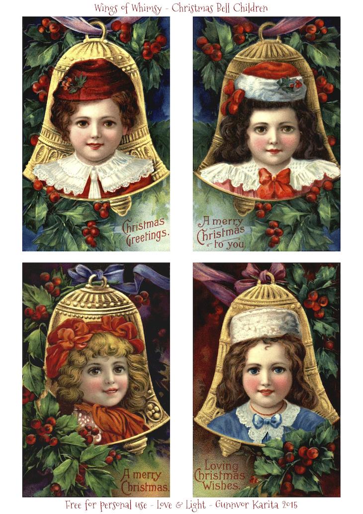 Wings of Whimsy: Christmas Bell Children #freebie #vintage #printable #christmas #children