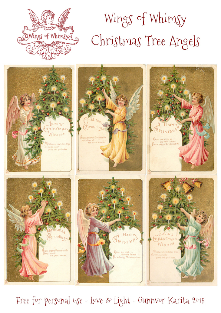 Wings of Whimsy: Christmas Tree Angels #vintage #ephemera #freebie #christmas #tree #angel