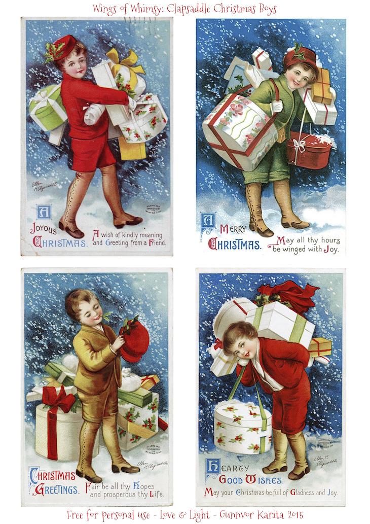Wings of Whimsy: Clapsaddle Christmas Boys #vintage #ephemera #printable #freebie #christmas #clapsaddle #boy