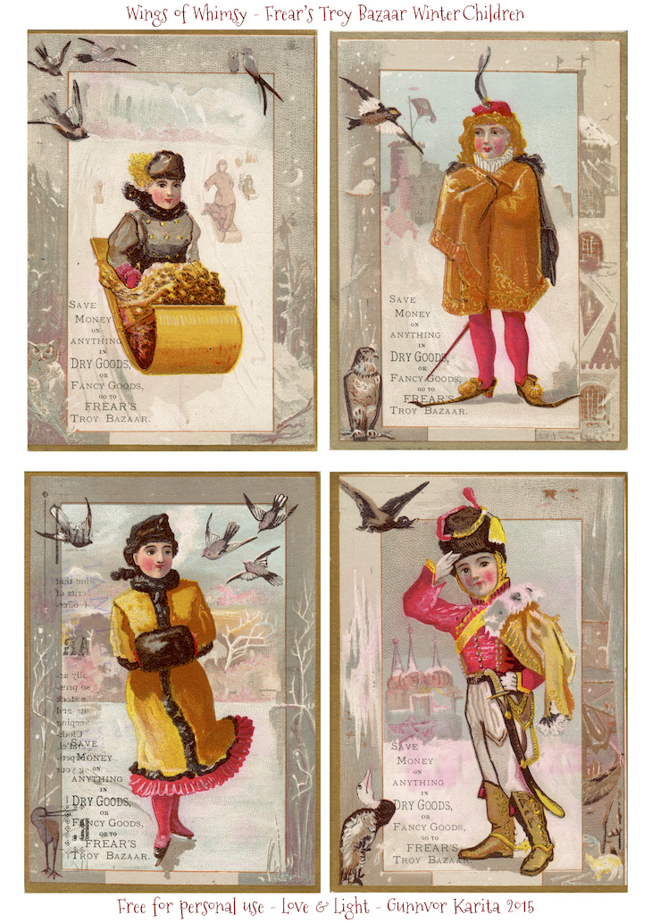 Wings of Whimsy: Frear's Troy Bazaar Winter Children #vintage #ephemera #printable #freebie #winter #children