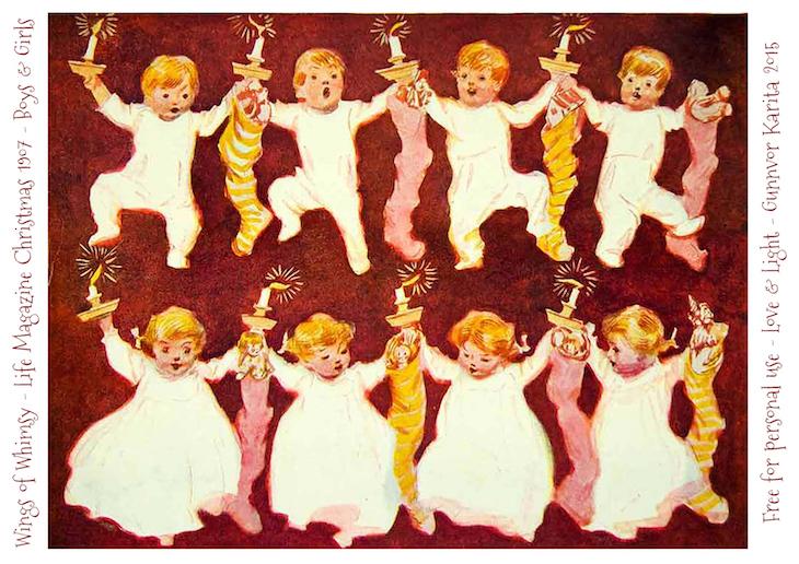 Wings of Whimsy: 1907 Life Magazine Christmas Girls & Boys Lantern #vintage #ephemera #freebie #christmas