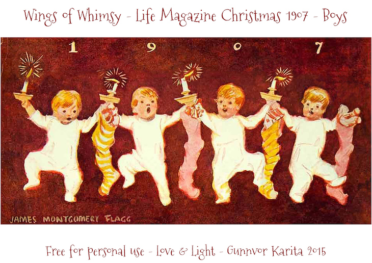 Wings of Whimsy: 1907 Life Magazine Christmas Girls & Boys Lantern #vintage #ephemera #freebie #christmas