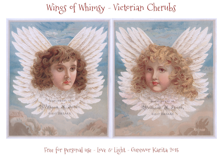 Vings of Whimsy: Victorian Cherub Heads #freebie #printable #ephemera #victorian #cherub #angel #christmas
