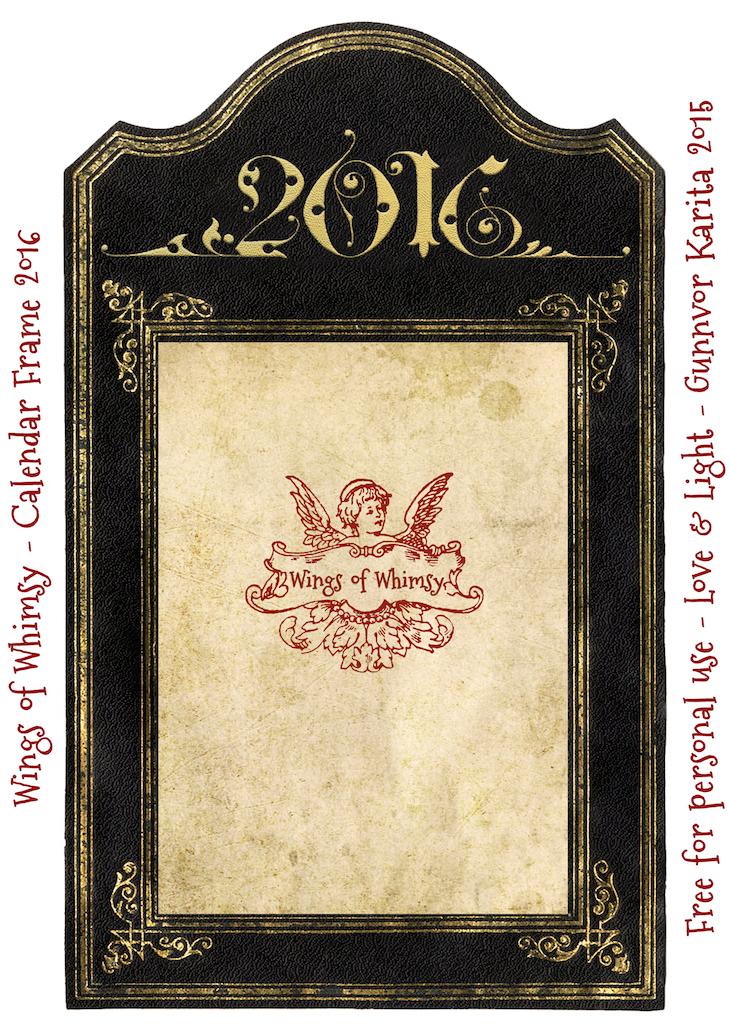 Wings of Whimsy: Calendar Frame 2016 #vintage #ephemera #freebie #printable #calendar